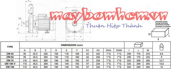 Sơ đồ cấu tạo máy bơm nước mini đẩy cao Pentax CM 210 2HP