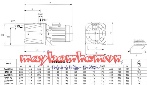 Sơ đồ cấu tạo máy bơm nước gia đình Pentax CAMT 200 2HP